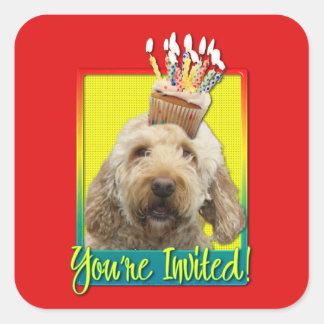 Invitation Cupcake - GoldenDoodle Square Sticker
