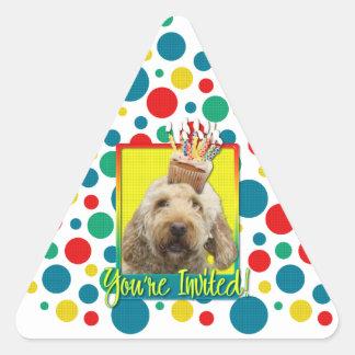 Invitation Cupcake - GoldenDoodle Triangle Sticker