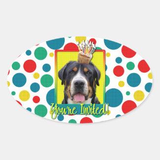 Invitation Cupcake - Greater Swiss Mountain Dog Oval Sticker