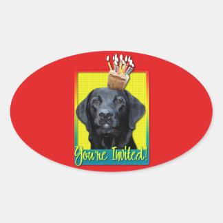Invitation Cupcake - Labrador - Black - Gage Oval Sticker