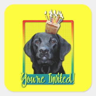 Invitation Cupcake - Labrador - Black - Gage Square Sticker