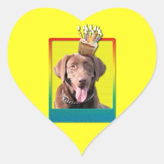 Invitation Cupcake - Labrador - Chocolate Heart Sticker