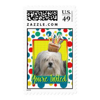 Invitation Cupcake - Lowchen Postage Stamps