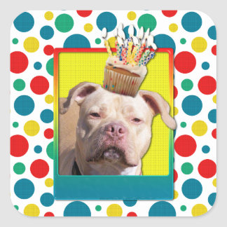 Invitation Cupcake - Pitbull - Jersey Girl Square Sticker