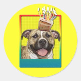 Invitation Cupcake - Pitbull - Tigger Classic Round Sticker