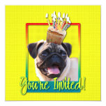 "Invitation Cupcake - Pug 5.25"" Square Invitation Card"