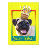 "Invitation Cupcake - Pug 5"" X 7"" Invitation Card"