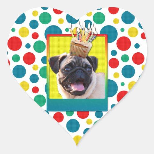 Invitation Cupcake - Pug Heart Sticker