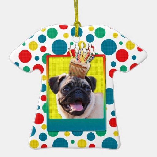 Invitation Cupcake - Pug Double-Sided T-Shirt Ceramic Christmas Ornament