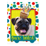 Invitation Cupcake - Pug Postcard