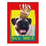 Invitation Cupcake - Pug Postcard