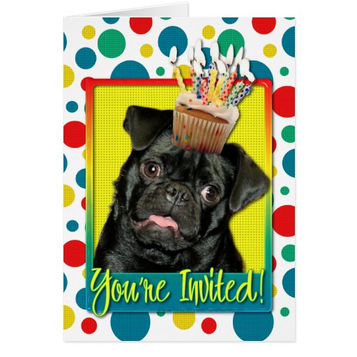 Invitation Cupcake - Pug - Ruffy Greeting Card