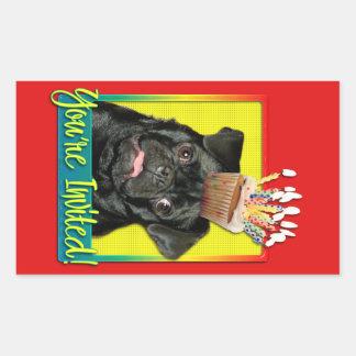 Invitation Cupcake - Pug - Ruffy Rectangle Stickers