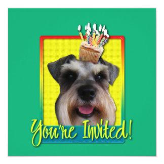 """Invitation Cupcake - Schnauzer 5.25"""" Square Invitation Card"""