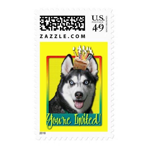 Invitation Cupcake - Siberian Husky Postage Stamp