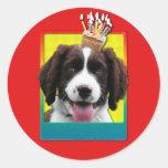Invitation Cupcake - Springer Spaniel - Baxter Round Sticker
