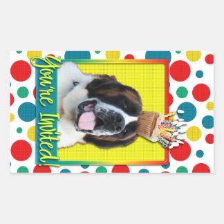Invitation Cupcake - St Bernard - Mae Rectangular Stickers