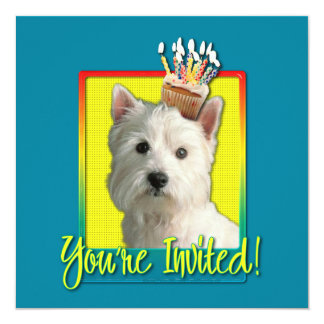"Invitation Cupcake - West Highland Terrier 5.25"" Square Invitation Card"