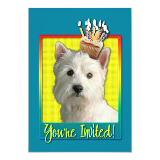 "Invitation Cupcake - West Highland Terrier 5"" X 7"" Invitation Card"
