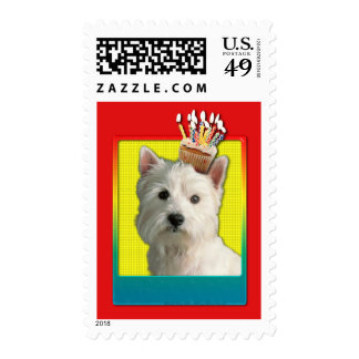 Invitation Cupcake - West Highland Terrier Stamp