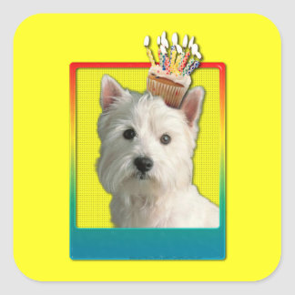 Invitation Cupcake - West Highland Terrier Square Sticker