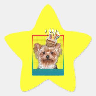 Invitation Cupcake - Yorkshire Terrier Star Sticker