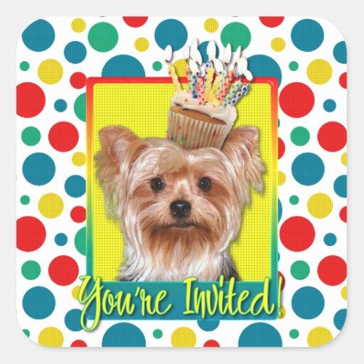 Invitation Cupcake - Yorkshire Terrier Square Sticker