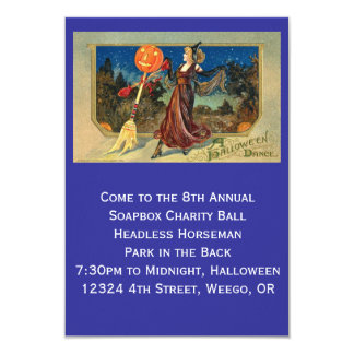 Invitation, Dancing Halloween Vintage Image Card