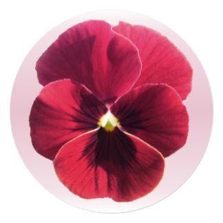 """Invitation - Dark Red Pansy 5.25"""" Square Invitation Card"""