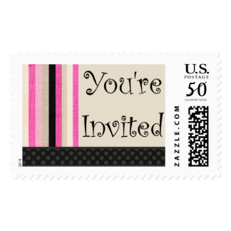 Invitation Deco Pink Custom Postage