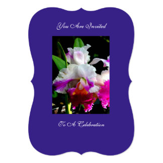 INVITATION DEEP PURPLE WITH FLOWERING ORCHID
