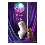 Invitation Disco Party Dog Cat Maltese Puppy Personalized Announcements