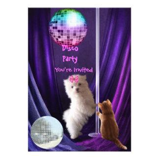 Invitation Disco Party Dog Cat Maltese Puppy Invitation