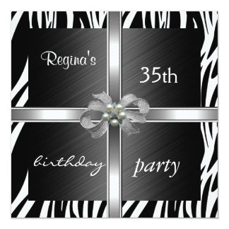 Invitation Elegant 35th Birthday Animal Zebra