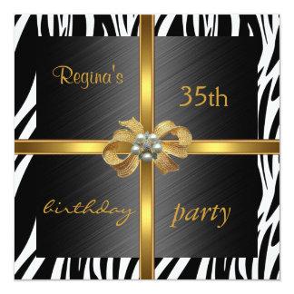 Invitation Elegant 35th Birthday Animal Zebra Gold