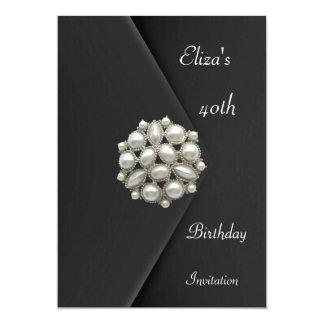 "Invitation Elegant 40th Black Velvet Pearl Jewel 5"" X 7"" Invitation Card"