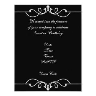 Invitation Elegant Birthday Black Silver Trim