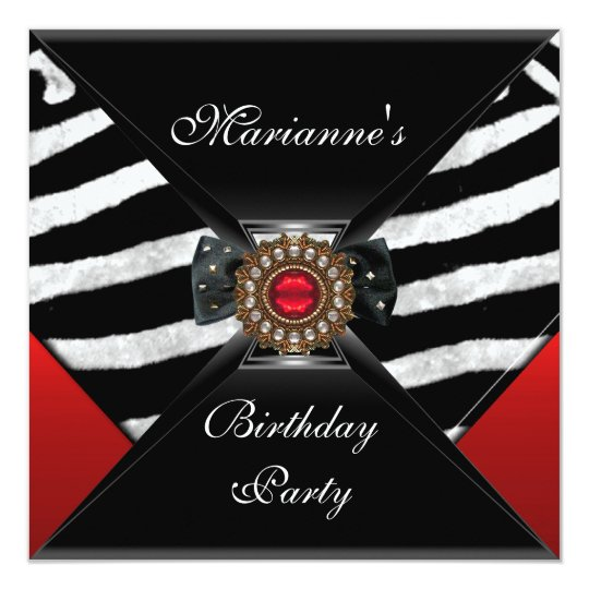 Invitation Elegant Birthday Black Zebra Animal Red