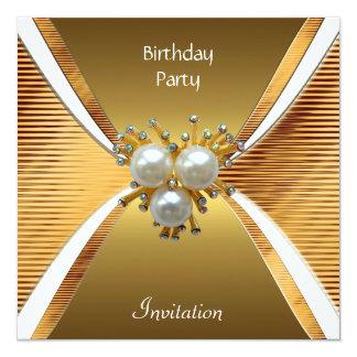 Invitation Elegant Birthday Party Gold Pearl Jewel