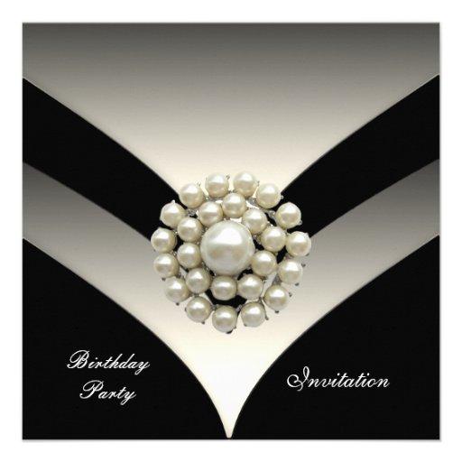 "Invitation Elegant Birthday Party Pearl Black 5.25"" Square Invitation ...: www.zazzle.com/invitation_elegant_birthday_party_pearl_black..."