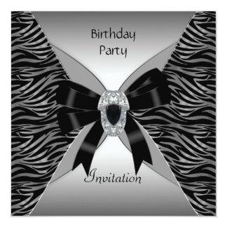 Invitation Elegant Birthday Party Wild Black Jewel