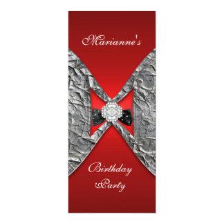 Invitation Elegant Birthday Red Metal Bow Jewel