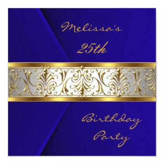 "Invitation Elegant Blue Velvet gold Trim 25th 5.25"" Square Invitation Card"
