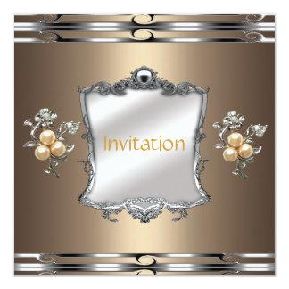 Invitation Elegant Bronze Silver Gold Jewel Pearls