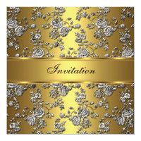 Invitation Elegant Classy Gold Embossed Floral