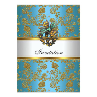 Invitation Elegant Classy Gold Teal Blue Floral