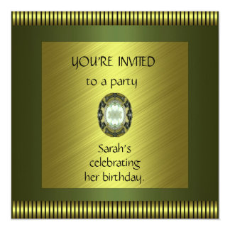 Invitation Elegant Green Gold Avocado