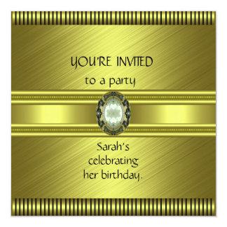 Invitation Elegant Green Gold Avocado Stripe