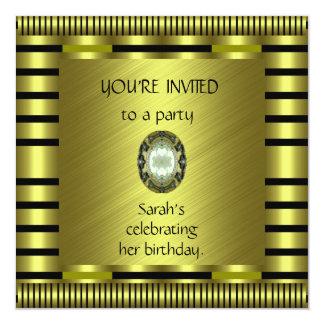 Invitation Elegant Green Gold Avocado Stripe Black