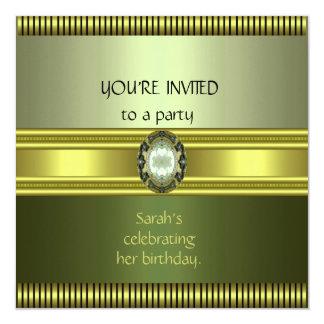 Invitation Elegant Green Gold Avocado Stripe duo